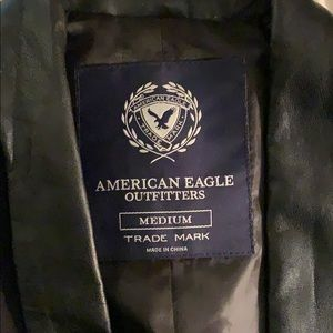 American Eagle Outfitters Jackets & Coats - Very nice black blazer with a green leather neck!